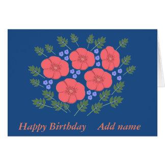El cumpleaños floral de los años 70 retros añade tarjeta de felicitación
