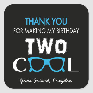 El cumpleaños fresco dos le agradece los pegatinas pegatina cuadrada