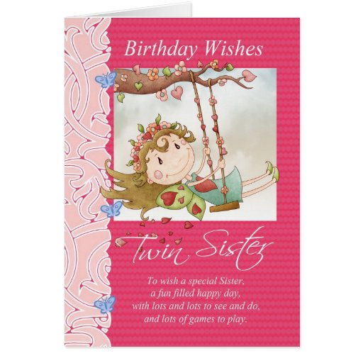 el cumpleaños gemelo de la hermana desea la tarjet tarjetas
