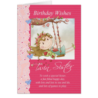 el cumpleaños gemelo de la hermana desea la tarjeta de felicitación