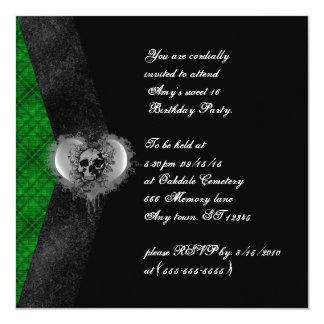 El cumpleaños gótico del dulce 16 de la tela invitación 13,3 cm x 13,3cm