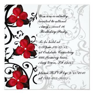 El cumpleaños gótico del dulce 16 de las flores invitación 13,3 cm x 13,3cm