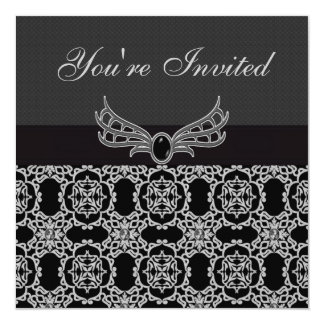El cumpleaños gótico elegante de la joya y de los invitación 13,3 cm x 13,3cm