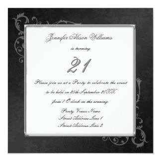 El cumpleaños gótico elegante invita en negro y invitación 13,3 cm x 13,3cm
