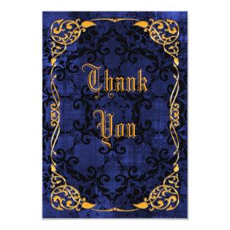 El cumpleaños gótico y oro enmarcado azul le invitación 8,9 x 12,7 cm