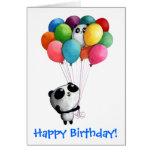 El cumpleaños hincha el oso de panda tarjeta