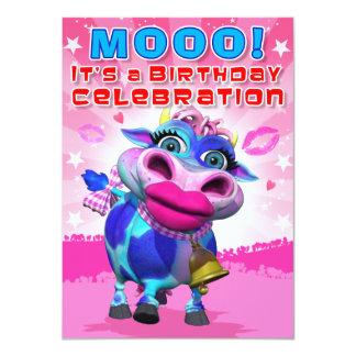 El cumpleaños invita a MOO del beso (el Invitación 11,4 X 15,8 Cm