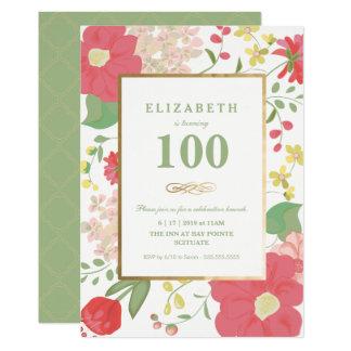 El cumpleaños invita, jalón - oro, floral elegante invitación 12,7 x 17,8 cm