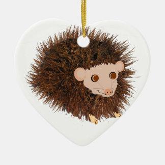 El cumpleaños lindo del erizo añade nombre adorno navideño de cerámica en forma de corazón