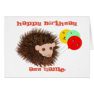 El cumpleaños lindo del erizo añade nombre tarjeta de felicitación