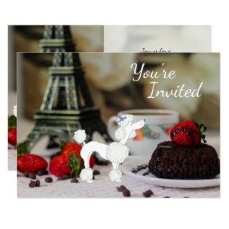 El cumpleaños lindo del perro de París de la torre Invitación 12,7 X 17,8 Cm