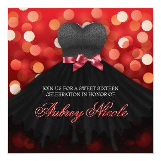 El cumpleaños negro del vestido del dulce invitación 13,3 cm x 13,3cm