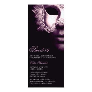 El cumpleaños negro púrpura del dulce 16 de la invitación 10,1 x 23,5 cm