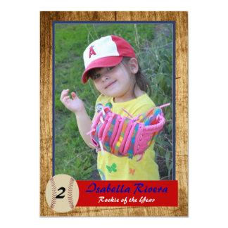El cumpleaños novato de la tarjeta del béisbol invitación 11,4 x 15,8 cm
