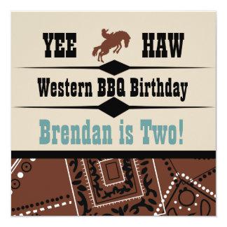 El cumpleaños occidental del vaquero de la vaquera invitación 13,3 cm x 13,3cm