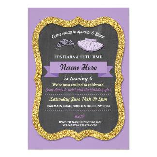El cumpleaños púrpura del brillo del tutú de la invitación 12,7 x 17,8 cm