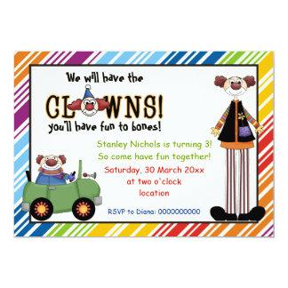 El cumpleaños rayado payaso colorido de los niños invitación 12,7 x 17,8 cm