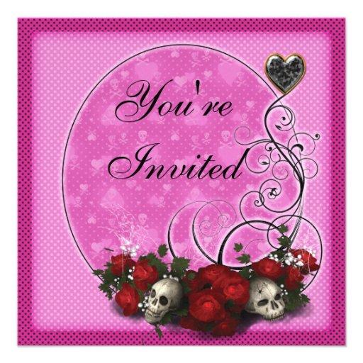 El cumpleaños rosado gótico de los rosas y de los  invitación