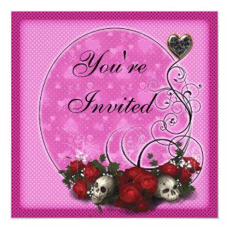 El cumpleaños rosado gótico de los rosas y de los invitación 13,3 cm x 13,3cm