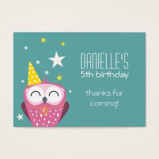 El cumpleaños rosado lindo del búho le agradece tarjeta de visita