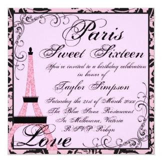 El cumpleaños rosado/negro de París Sweet16 invita Invitación 13,3 Cm X 13,3cm