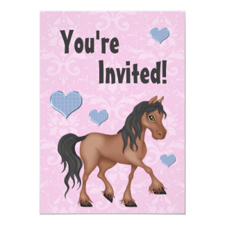 El cumpleaños rosado y azul del caballo y del invitación 12,7 x 17,8 cm