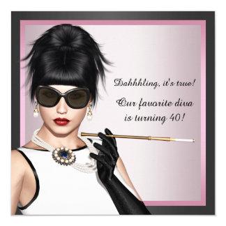 El cumpleaños rosado y negro de la mujer de la invitación 13,3 cm x 13,3cm