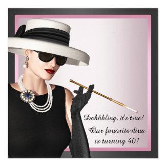 El cumpleaños rosado y negro de la mujer preferida invitación 13,3 cm x 13,3cm