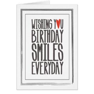 El cumpleaños sonríe tarjeta de felicitación