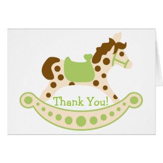 El cumpleaños verde del caballo mecedora le tarjeta pequeña
