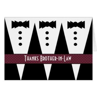El cuñado le agradece - tres smokinges tarjeta de felicitación