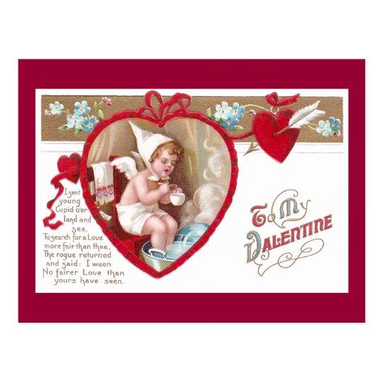 El Cupid frío toma el baño caliente del pie Postal