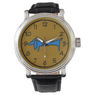 El Dachshund azul famoso del perro Reloj