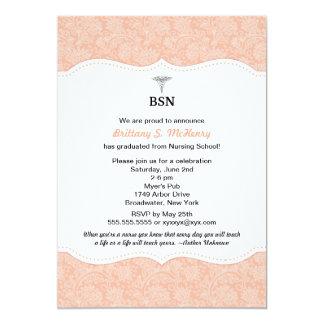 El damasco coralino BSN RN LPN de la graduación de Invitación 12,7 X 17,8 Cm