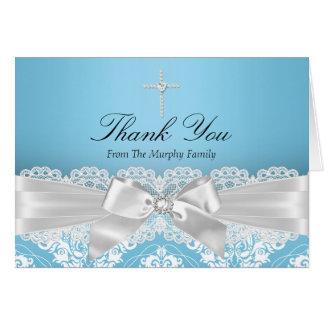 El damasco de plata azul y el bautismo del arco le tarjeta pequeña
