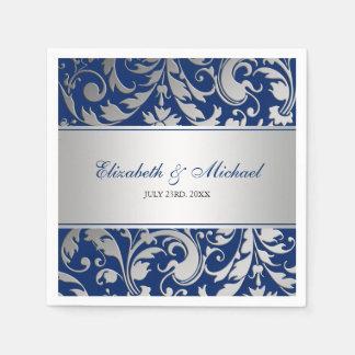 El damasco de plata de los azules marinos remolina servilleta desechable