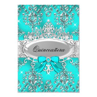 El damasco de plata Quinceanera de la tiara del Invitación 8,9 X 12,7 Cm