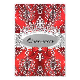 El damasco de plata rojo elegante Quinceanera de Invitación 8,9 X 12,7 Cm
