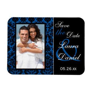 El damasco del azul y del negro de cobalto ahorra  iman de vinilo