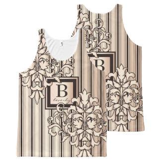 El damasco del monograma raya monocromo neutral camiseta de tirantes con estampado integral