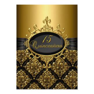 El damasco elegante Quinceanera del negro y del Invitación 11,4 X 15,8 Cm