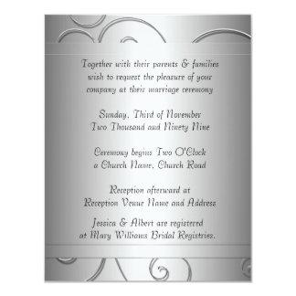 El damasco gris negro de lujo remolina invitación