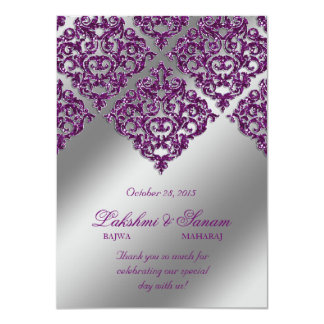 El damasco invita a la chispa púrpura de la plata invitación 11,4 x 15,8 cm