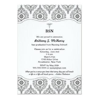 El damasco moderno BSN RN LPN de la graduación de Invitación 12,7 X 17,8 Cm