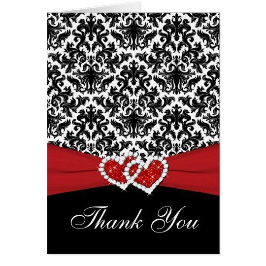 El damasco negro blanco rojo, corazones le tarjeta pequeña
