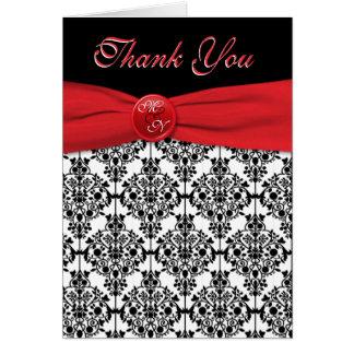 El damasco negro con rojo de la amapola le agradec tarjeta de felicitación