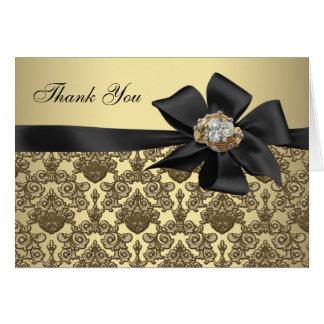 El damasco negro de los diamantes del oro le tarjeta pequeña