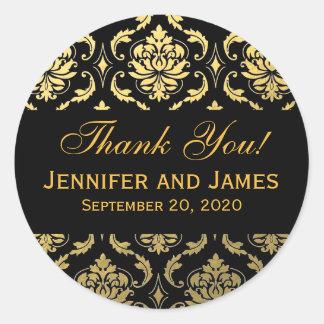 El damasco negro del boda del oro le agradece pegatina redonda