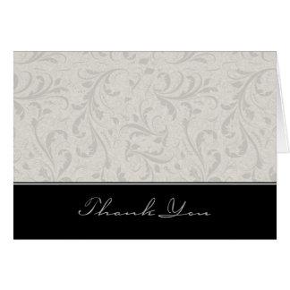 El damasco negro y gris elegante le agradece tarjeta pequeña