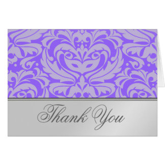 El damasco púrpura de la voluta de plata elegante  tarjeta de felicitación